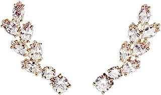 Ear Crawler Earrings Climbers Leaf Feather Angel Wing Ear Cuff Pin Vine Wrap CZ Crystal Rhinestone Studs