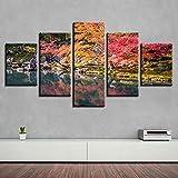 Stampa di Immagini d'Arte Digitale di Pittura Moderna | Tela Decorativa per Soggiorno o Camera da Letto | Paesaggio Naturale del Lago dell'albero | 5 Pezzi 100 x 55 cm