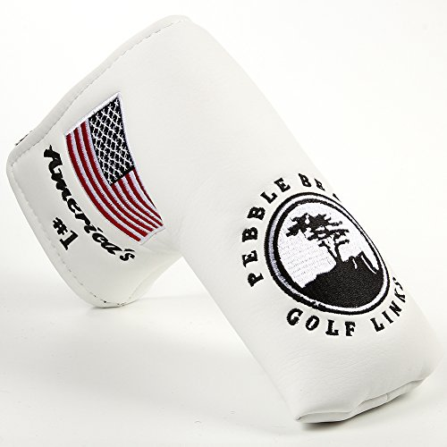 DBYAN Golf Putter Head Cover,Pebble Beach USA Flag Patterned Design Long Life Tree Print Compatible for Scotty Cameron Odyssey Blade Callaway Taylormade Titleist Ping Mizuno Cobra,White