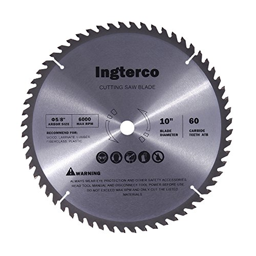INGTERCO 10-Inch 60-Tooth ATB Thin Kerf General Purpose Woodworking Saw Blade with 5/8-Inch Arbor