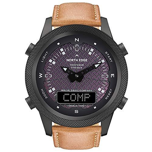 LQQZZZ Reloj De Deportes Solares, Reloj Táctico Militar Impermeable para Hombres con Cargador Solar Compass World Time Función De Retroiluminación para Deportes De Negocios
