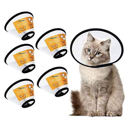 Vandove Conos de Recuperación para Mascotas, 5 Piezas Collar para Mascotas Collarines para Curar Heridas, Anti-Mordida Collar Práctico de Segurida, para Gatos Cachorro Conejo (XS)