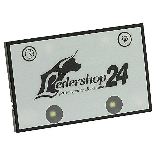 Ledershop24 LED Licht Bag Spot für Kellnerbörse Kellner Kellnergeldbörse Geldbörse Kellnergeldbeutel Bedienungsbörse Damentasche Handtasche Tasche Farbe weiß