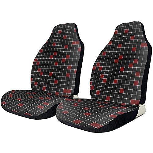 TABUE 2 stuks rood geruit emmer autostoelbeschermhoezen passen op de meeste voertuigen, auto's, limousines, vrachtwagens, terreinwagens