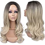 BLSWANER Ombre Blonde Wig Black to Ash Blonde Middle Part Long Wavy Synthetic Hair Weave Full Wigs For Women …