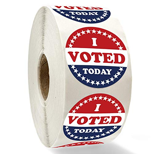 I Voted Today with Red, White, and Blue Circle Stickers 1.4 Inch Round 500 Labels Per Roll.