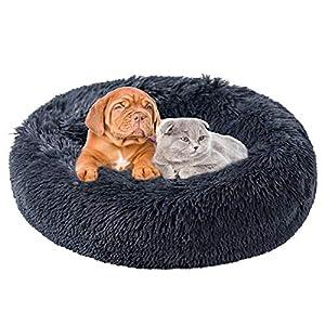 Katoggy Plush Donut Dog/Cat Bed, Round Self-Warm Calming Pet Bed, Cuddler Kennel Soft Puppy Sofa, Anti-Slip Bottom, Machine Washable