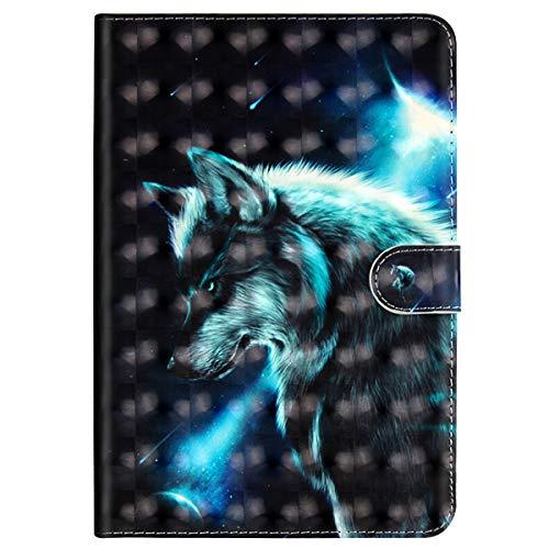 MoreChioce kompatibel mit iPad 9.7 Zoll 2018/2017 Hülle, 3D Wolf Muster Leder Flip Stand Tablette Case Brieftasche mit Auto Sleep/Wake Funktion kompatibel mit iPad 9.7 2018/2017,EINWEG