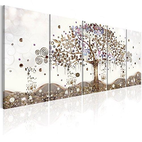 murando Quadro Albero della vita Klimt 200x80 cm Stampa su tela in TNT XXL Immagini moderni Murale Fotografia Grafica Decorazione da parete 5 pezzi Astratto l-A-0009-b-p