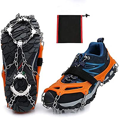 CHIVENIDO Crampons Ice Cleats Traction Cleats Snow Grips Grippers Anti Slip Stainless Steel Microspikes with 19 Spikes 1 Free Pouch Boots Shoes Hiking Backpacking Mountaineering (Orange, L)