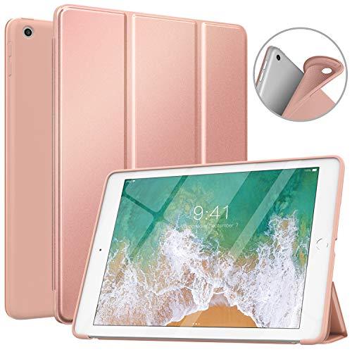 MoKo Case Compatibile con iPad 9.7 5a / 6a Generazione, Custodia Cover Sottile Leggero con Protezione Posteriore Traslucida Glassata per iPad 9.7 Pollici 2018/2017 - Oro Rosa