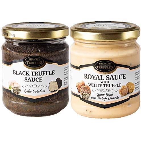 Schwarze Trüffel Saucen Black truffle sauce Trüffelcreme Sommertrüffel (80g) und White truffle Royal Tuber Magnatum Weißen Trüffel mit Sahne und Käse Trüffel Creme Delikatesse für Feinschmecker (80g)