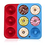Silicone Donut Molds, 2 Pack Silicon Doughnut Mould, 6 Cavity Non-Stick Safe Silicone Donut Baking Pan for Cake Biscuit Bagels Muffins-Blue, red