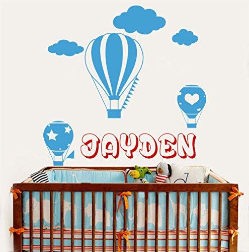 Sticker mural personnalisé avec monogramme nom personnalisé cadeau enfant garçon nom montgolfière chambre de garçon et de fille Wall Sticker vinyle-Sticker Mural-décor style