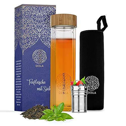 Desla ® Teeflasche mit Sieb – Doppelwandige Trinkflasche aus Borosilikatglas auch für den Sommer – Infused Water - [500ml] Teeflasche mit Edelstahl Sieb to go – Nachhaltiges Material