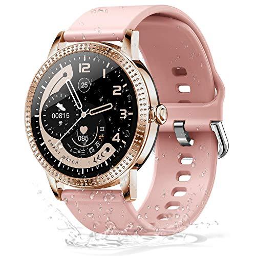 DOOK Smartwatch Mujer, Reloj Inteligente Mujer con Pulsómetro, Impermeable IP68, Presión Arterial, Monitor De Sueño Calorías, Podómetro, Reloj Deportivo Mujer para iOS Y Android