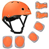 Joncom Kids Bike Helmet Adjustable for Age 3-8 Years Boys Girls Sport Protective Gear Set with Knee Elbow Wrist Pads CPSC Certified, Toddler Helmet for Skateboarding Cycling Rollerblading (Orange, S)
