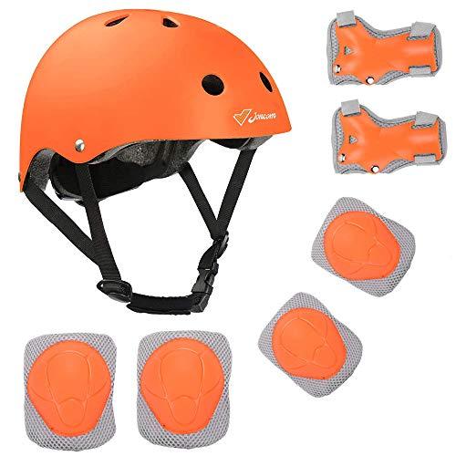 Joncom Kids Bike Helmet Adjustable for Age 3-8 Years Boys Girls Sport Protective Gear Set with Knee Elbow Wrist Pads CPSC Certified, Toddler Helmet for Skateboarding Cycling Rollerblading (Orange, S)