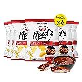 Need's Chips Proteinados – Chips sin gluten, rico en fibra – Aperitivo, collación, 6 x 25 g