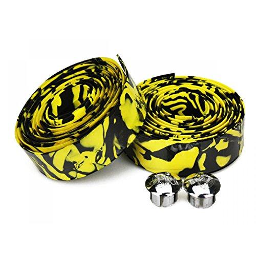 Vococal® 2 x Bicyclette de Vélo de Guidon Ceinture Ruban Wrap Bracelet w/Bar Branchez Jaune + Noir