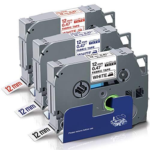 UniPlus 3x Reemplazo de Etiquetas de Tela para Ropa Compatibles con Brother TZe-FA231 TZe-FA3 TZe-FA3R Cinta Textil para Brother P-Touch PT 1000 1005 1010 D200 H105 H110 P700 P750W, 12 mm x 3 m