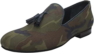 Bareskin Camouflage Canvas Loafers with Stylish Leather Tassel for Men