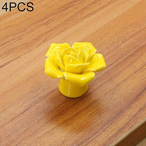 MENGYUE Handle 4 PCS 41mm Rose Shape Modern Literary Color Glazed Ceramic Cabinet Drawer Handle(Pink)` handle knobs (Color : Yellow)