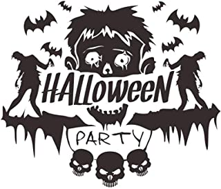 MEANIT Halloween Wall Decals Large Removable Wall Stickers Black Window Clings Witch and Bats Tomb for Halloween Party Decoration