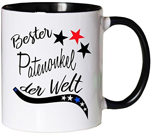 Mister Merchandise Kaffeebecher Tasse Bester Patenonkel der Welt Pate Geburt Schwanger Baby Kind Schwangerschaft Teetasse Becher Weiß-Schwarz