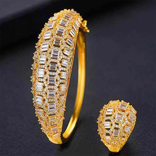 ZIRCOSHNY - Conjunto de joyas de primavera para mujer, circonita, cristal Qatar, anillo dorado