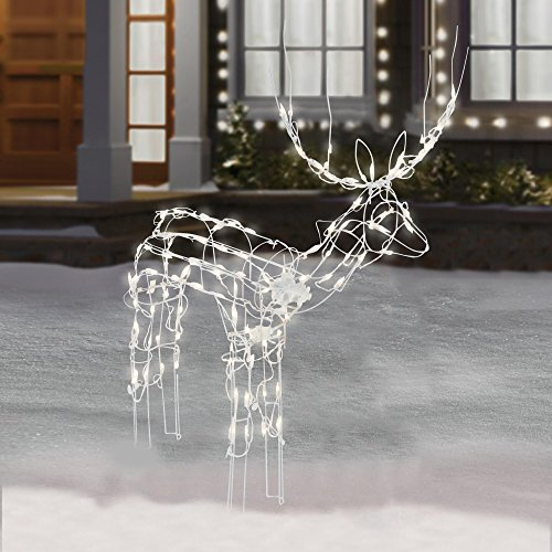 48 inch Animated Lighted Christmas Buck Sculpture