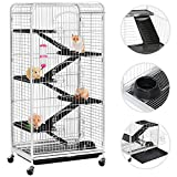 Topeakmart 6 Level 52'' Large Ferret Cage Chinchilla Squirrels Rabbit Small Animal Hutch Cage w/Wheel/3 Front Doors/Bowl/Water Bottle Indoor Outdoor White