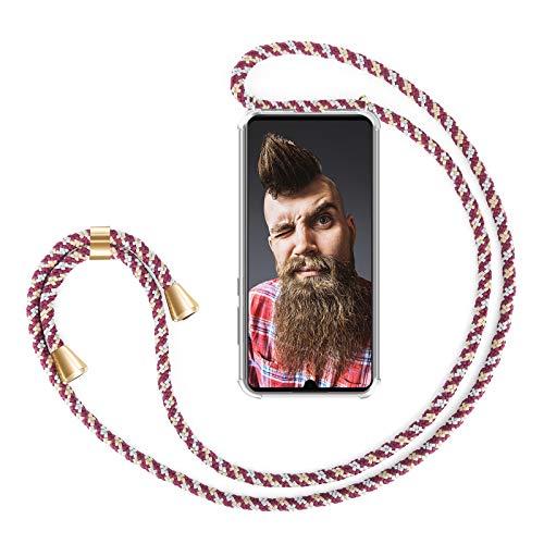ZhinkArts Handykette kompatibel mit Huawei P30 Lite - Smartphone Necklace Hülle mit Band - Handyhülle Hülle mit Kette zum umhängen in Bordeaux/Rot Camouflage
