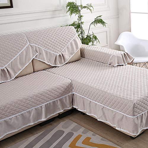 hoekbank hoes, kant antislip sofa kussen, moderne eenvoudige sofa handdoek-beige_drie mensen 90cm * 180cm, elastische meubelbeschermer