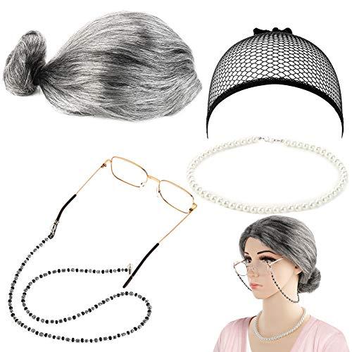 FANTESI Old Lady Kostüm Großmutter Cosplay Zubehör Set - Oma Perücke Perücke Kappe Brille Brillen Ketten Armband Perlenkette - 5 Stück