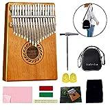 POMAIKAI 17 tasti kalimba marimbe thumb piano, pianoforte da dito portatile in legno di mogano mbira con accessori per bambini e adulti principianti (naturale)