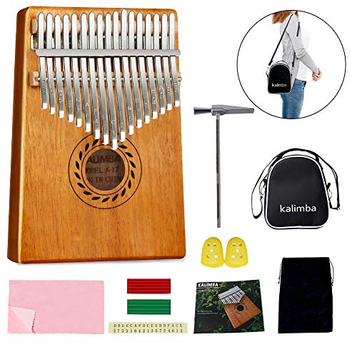 POMAIKAI 17-Tasten Kalimba Marimba Daumenklavier, Tragbares Fingerklavier aus Mbira Mahagoni Holz mit Zubehör für Kinder und Erwachsene Anfänger (natürlich)
