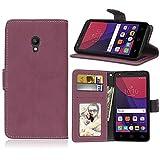 Handy Kasten für Alcatel One Touch Pixi 4 (5) 5.0inch,Bookstyle 3 Card Slot PU Leder Hülle Interner Schutz Schutzhülle Handy Taschen(Rose)