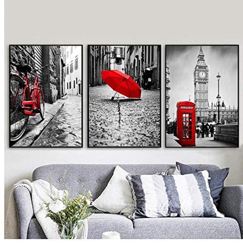 xwwnzdq rode fiets paraplu London landschap muurkunst canvas schilderij Nordic poster en afdrukken muurschilderingen voor woonkamer wooncultuur 50x70 cm x 3 geen lijst