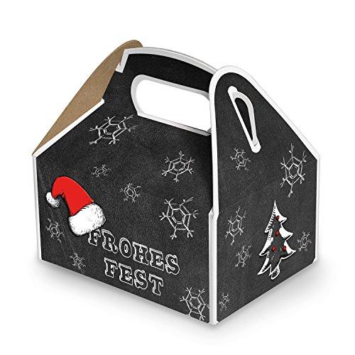 10 kleine Weihnachtsschachtel Geschenk-box Geschenk-Karton Weihnachten schwarz weiß rot FROHES FEST 9 x 12 x 6 cm Verpackung weihnachtlich für Kunden Mitarbeiter vintage zum Befüllen