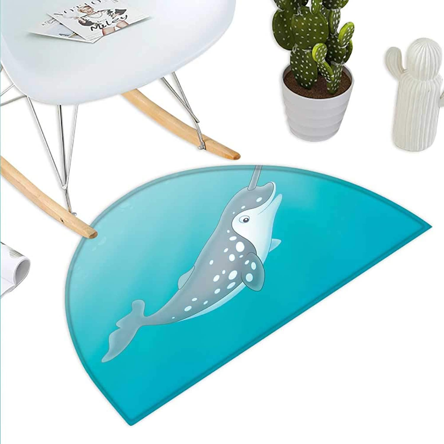 Narwhal Semicircle Doormat Cartoon Style Drawing of an Arctic Narwhal Whale with White Spots Aquatic Halfmoon doormats H 39.3  xD 59  Seafoam Grey White