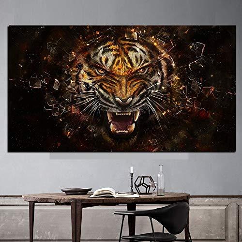 oioiu Kunst HD-Druck Tiger Tier Ölgemälde Leinwand Wandbild für Wohnzimmer Schlafzimmer Korridor Sofa Dekoration Wandmalerei Rahmenlos