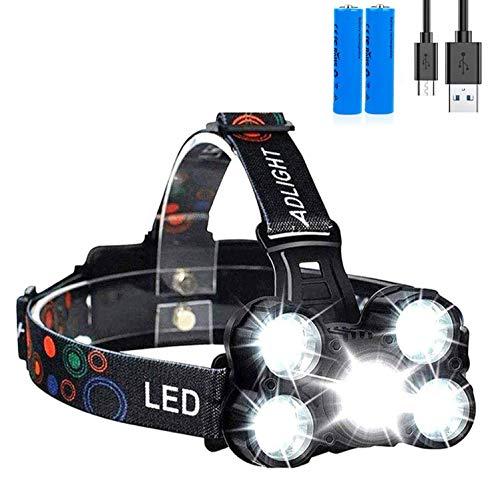 Linterna frontal LED Recargable de Trabajo, 8000 Lúmenes, 4 Modos de Luz con Flash, Zoom in/out, Ligera Elástica,...