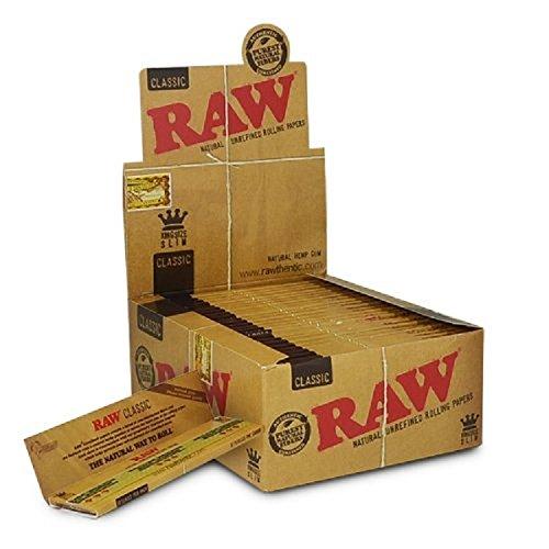 Raw Classic King Size Slim Zigarettenpapier, Box mit 50Heftchen