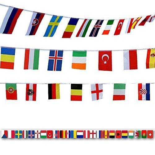 Watooma Flaggenkette Fahnenkette Wimpelkette mit 100 Zufällige Länder Fahnen Flaggen Perfekte Dekorationen für Bar, Party, Festival, Sportvereine (32PCS)