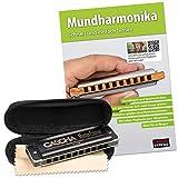 CASCHA Mundharmonika Lern-Set inklusive hochwertiger Harmonika in C-Dur diatonisch, Einsteiger Schule, Case und Pflegetuch, ideal für Anfänger und Erwachsene
