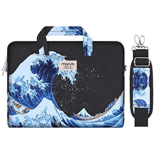 MOSISO Funda Protectora Compatible con 2019 MacBook Pro 16 A2141/15-15.6 MacBook Pro/Surface Acer ASUS de Portátil, Bolsa de Hombro Patrón Maletín Bandolera con Cinturón de Carro, Ola del Mar Negro