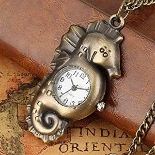 Professional Seahorse Shape Design Pocket Watch Retro Bronze Quartz Watches Arabic, Sea Shell Pottery - Vintage Metal Wall Clocks, Tropical Magnet, Antique Brass Fish, Shark Watch, Vintage Compacts
