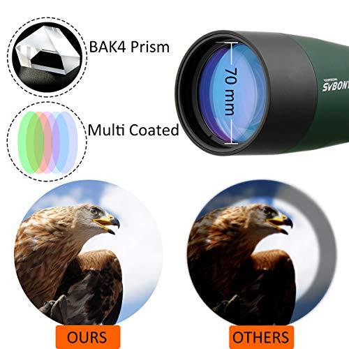 Svbony SV28 Spotting Scope with Tripod Phone Adapter 25-75X70, HD Zoom BAK4 Prism MC Optics Lens Angled spotting scopes for Target Shooting, Bird Watching, Wildlife