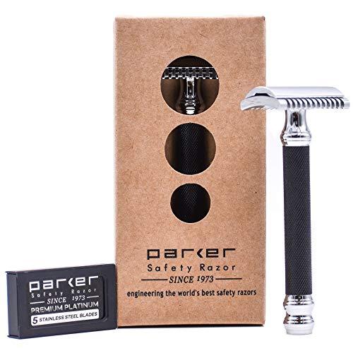 Parker Safety Razor Parker 26C - Schwarz Griff Dreiteiliger öffnen Comb Double Edge Safety Razor & 5 Premium Double Edge Blades